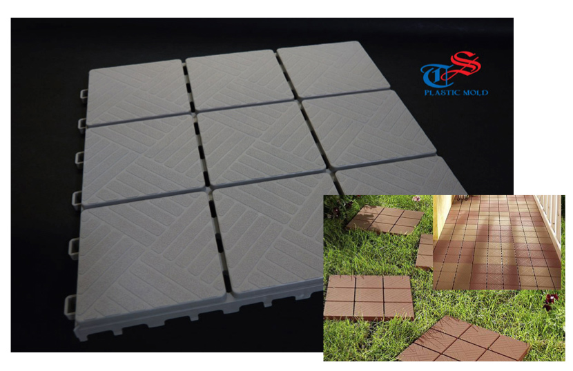 Anti-gliding plastic tile