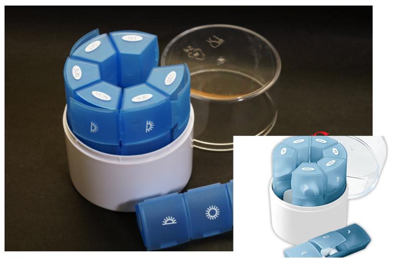Round-shape one-week medicine box